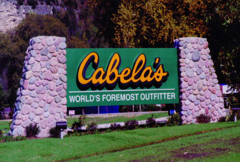 Sign at Cabela's store